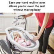 easy one hand recline lever allows you to lower the seat without moving baby image number 2