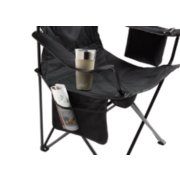 detailed view of cup holder and side pocket of cooler quad chair in black in use image number 2