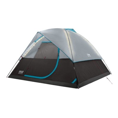 OneSource Rechargeable 4-Person Camping Dome Tent with Airflow System & LED Lighting