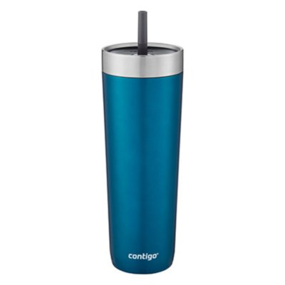 Luxe Stainless Steel Travel Tumbler with Spill-Proof Lid and Straw, 24oz