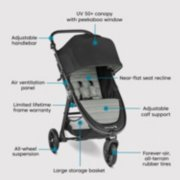 stroller with UV 50+ canopy with window, near flat seat recline, adjustable calf support, forever air, all terrain tires, large storage basket, all wheel suspension, limited lifetime frame warranty, air vent panel, adjustable handlebar image number 6
