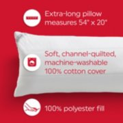 extra long pillow measures 54 by 20 inches, soft, channel quilted, machine washable 100% cotton cover, 100% polyester fill image number 2