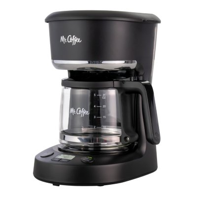Mr. Coffee® 5-Cup Programmable Coffee Maker, 25 oz. Mini Brew, Brew Now or Later, with Water Filtration and Nylon