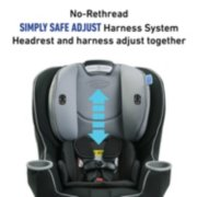 car seat with no rethread and simply safe adjust harness system where the headrest and harness adjust together image number 3