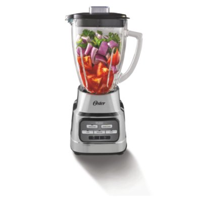 Oster® One Touch Blender with Auto Programs and 6-Cup Glass Jar, Brushed Nickel