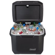 open view of coleman 50 quart hard cooler with wheels in black image number 1