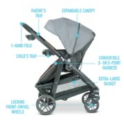 Modes stoller features including parent's tray, child's tray, locking front swivel wheels, extra large basket image number 4