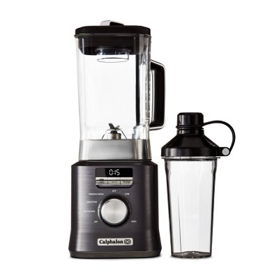 Calphalon Auto-Speed 2-Liter Blender with Blend-N-Go Smoothie Cup, Dark Stainless Steel
