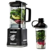 Calphalon Auto-Speed 2-Liter Blender with Blend-N-Go Smoothie Cup, Dark Stainless Steel image number 1