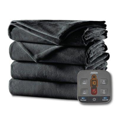 Cozy Feet Velvet Heated Blanket with Digital Display Controller