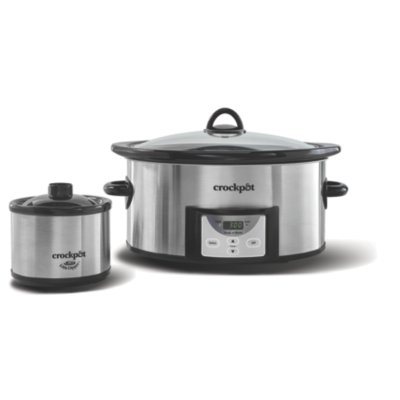 Crockpot™ 6-Quart Slow Cooker, Programmable, with Little Dipper® Warmer, Stainless Steel