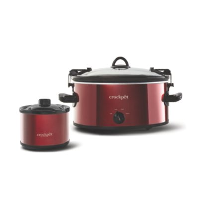 Crockpot™ 6-Quart Cook & Carry™ Slow Cooker, Manual, with Little Dipper® Warmer, Red