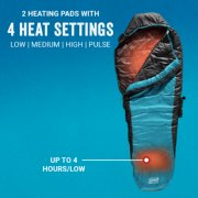 mummy style heated sleeping bag with 2 heating pads and 4 heat settings image number 2