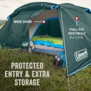 tent with wide door and full-fly vestibule for protected entry and extra storage image number 2