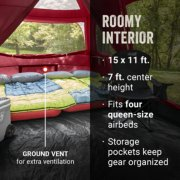tent with ground vent for extra ventilation roomy interior that fits four queen size beds and storage pockets that keep gear organized image number 5