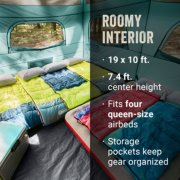 roomy interior, 19 x 10 feet, 7.4 feet center height, fits 4 queen size airbeds, storage pockets image number 5