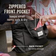 tote bag has zippered front pocket that keeps small items safe and dry and back pocket for extra storage image number 3