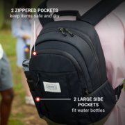 backpack with 2 zippered pockets to keep items safe and dry and 2 large side pockets to fit water bottles image number 3