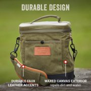 small soft cooler with durable faux leather accents and waxed canvas exterior image number 1