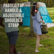 couple outside carrying soft cooler with padded top handle and adjustable shoulder strap image number 3