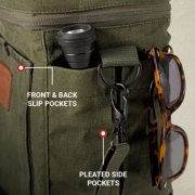 close up of soft cooler with front back and side pockets image number 4