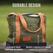 soft cooler with durable design faux leather accents and wax canvas exterior that repels dirt and water image number 1