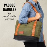 soft cooler with padded faux leather handles and front and side pockets image number 3