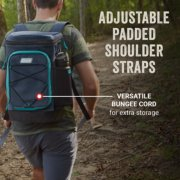 backpack cooler with adjustable padded shoulder straps and versatile bungee cord for extra storage image number 2