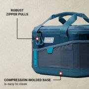 soft cooler has robust zipper pulls and compression molded base image number 3