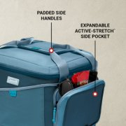 cooler has padded side handles and expandable stretch side pocket image number 2