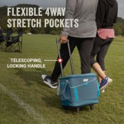 cooler has flexible 4 way stretch pockets with telescoping locking handle image number 4