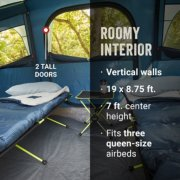 roomy interior, 2 tall doors, vertical walls, 19 by 8.75 feet, 7 foot center height, fits 3 queen size airbeds image number 2