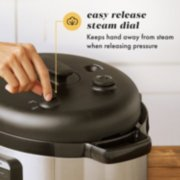 easy release steam dial keeps hand away from steam when releasing pressure image number 3