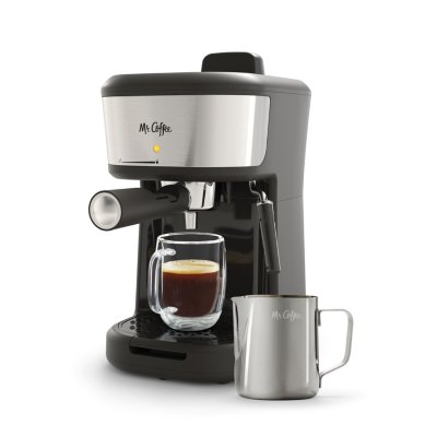 Mr. Coffee® 4-Shot Steam Espresso, Cappuccino, and Latte Maker with Stainless Steel Frothing Pitcher