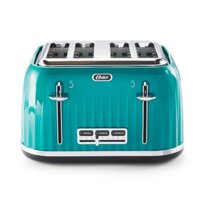 Oster® 4 Slice Toaster with Textured Design and Chrome Accents, Impressions Collection, Teal