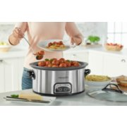 Crockpot™ 7-Quart Slow Cooker, Programmable, Stainless Steel with Little Dipper® Food Warmer image number 1