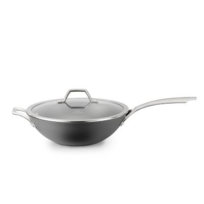 Calphalon Signature™ Hard-Anodized Nonstick 12-Inch Flat-Bottom Wok with Cover