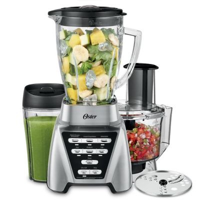 Oster® Pro 1200 Blender with 3 Pre-Programmed Settings, Blend-N-Go™ Cup and 5-Cup Food Processor, Brushed Nickel