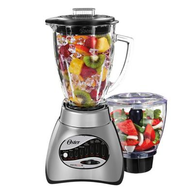 Oster® Classic Series 16 Speed Blender with Food Chopper and Glass Jar, Brushed Nickel