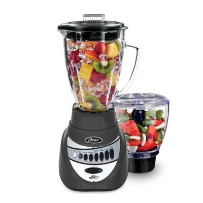 Oster® Precise Blend 700 Blender with Food Chopper and 6-Cup Glass Jar, Gray