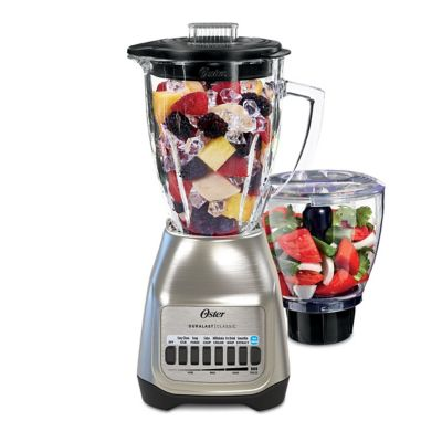 Oster® Classic Series Blender PLUS Food Chopper - Nickel Plated - Glass Jar -