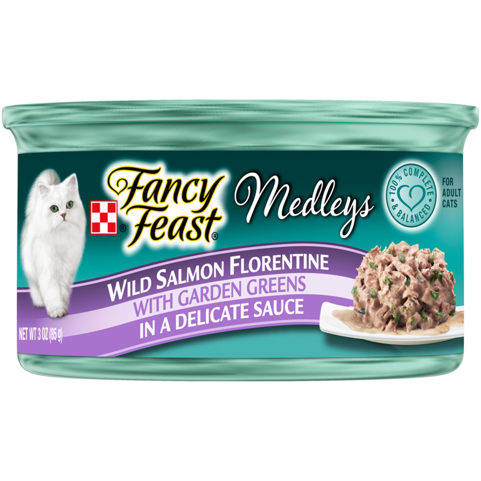 Purina Fancy Feast Medleys Wild Salmon Florentine With Garden Greens in a Delicate Sauce Adult Wet Cat Food, 3 oz., Case of 24