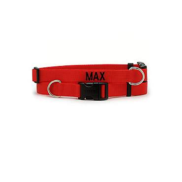 Coastal Pet Personalized Adjustable Nylon Tuff Collars in Red