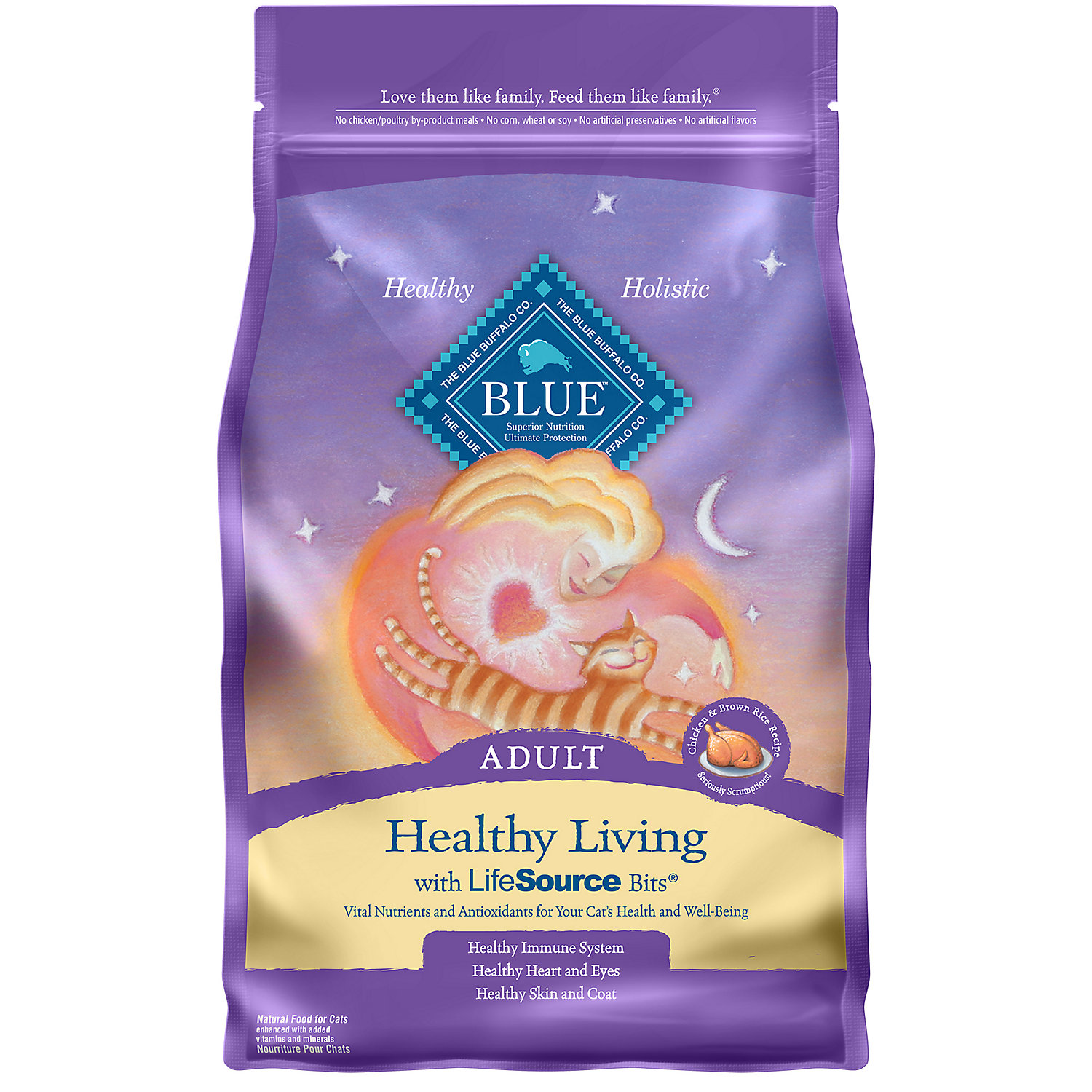Blue Buffalo Healthy Living Chicken Brown Rice Adult Cat Food 3 Lbs.