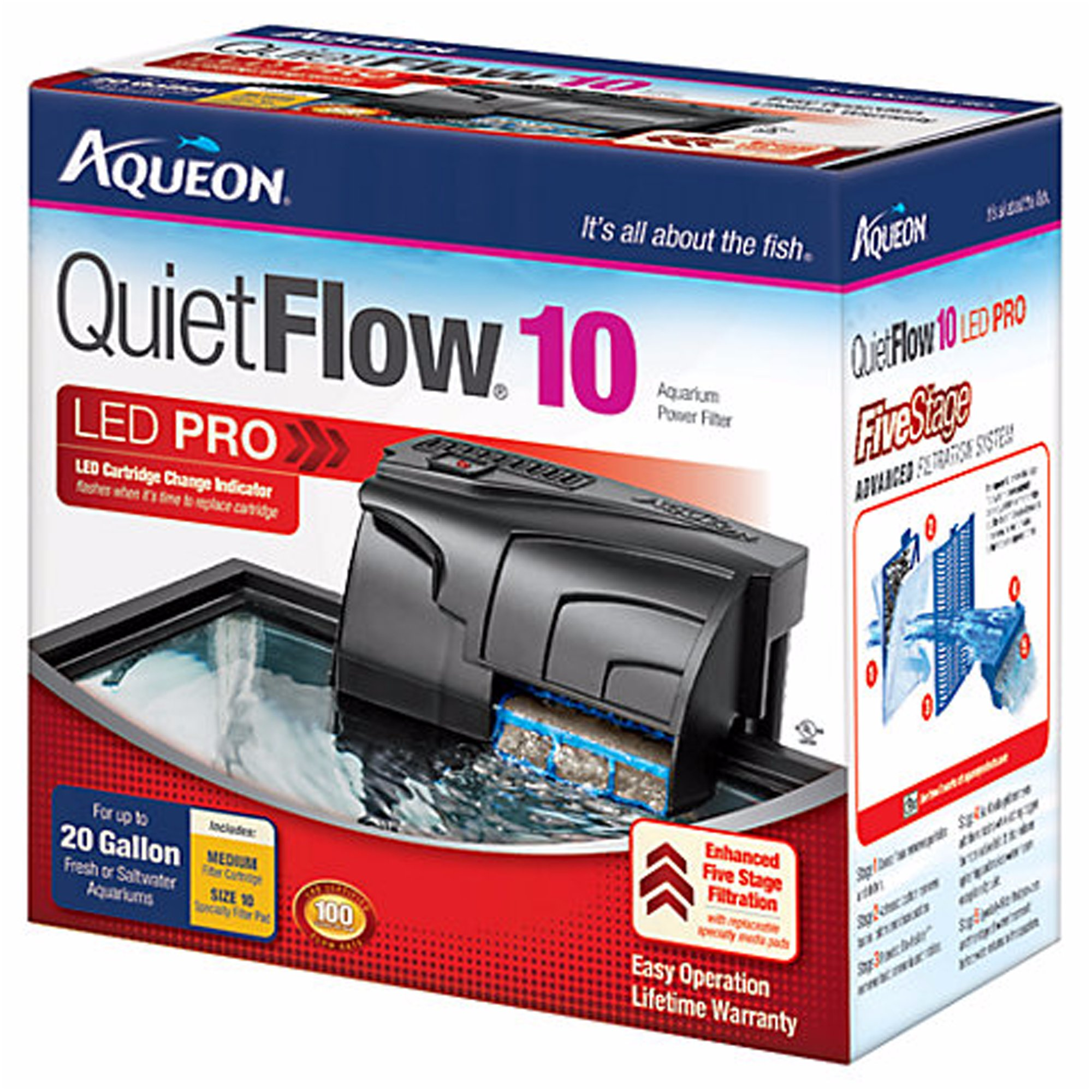 Aqueon quietflow 10 aquarium power filter petco for Quiet fish tank filter