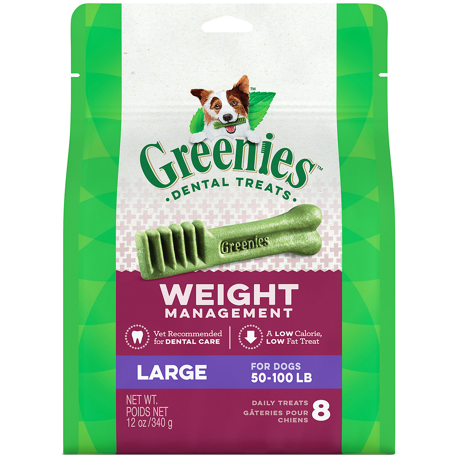 Greenies Weight Management Large Dental Dog Treats 12 Oz. 8 Pack.