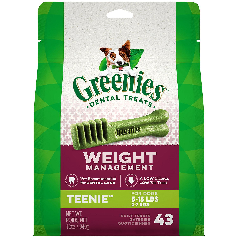 Greenies Weight Management Teenie Dental Dog Treats 12 Oz. 43 Pack.