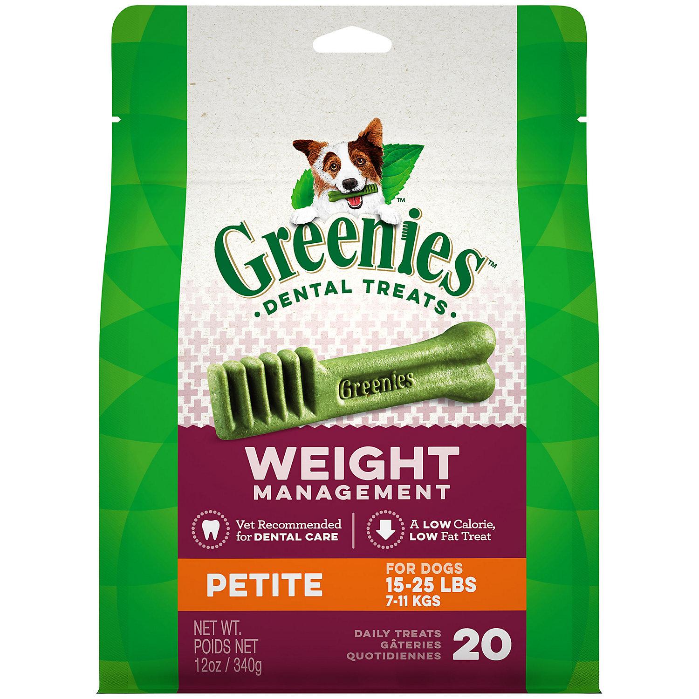 Greenies Weight Management Petite Dental Dog Treats 12 Oz. 20 Pack.