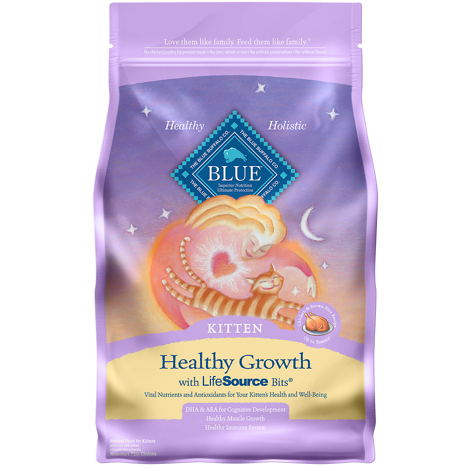 Blue Buffalo Healthy Growth Chicken Brown Rice Kitten Food 3 Lbs.