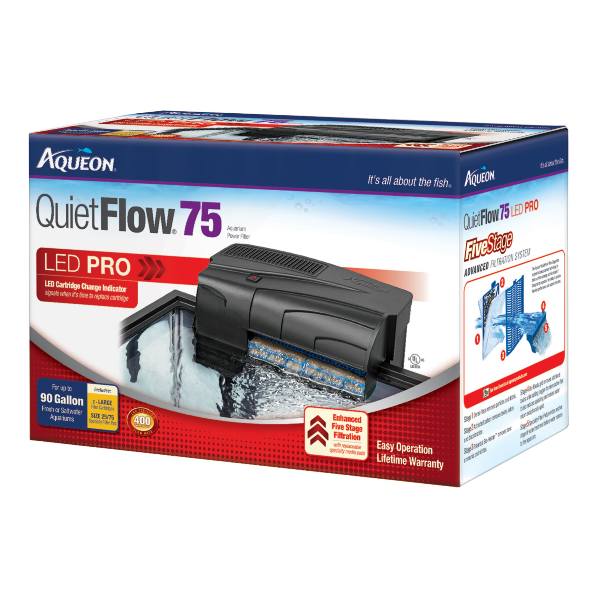 Aqueon quietflow 55 75 aquarium power filter petco for Aqueon fish tank